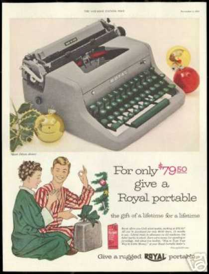 Royal Portable Typewriter Christmas Vintage (1954)