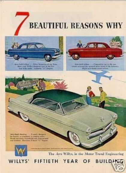 Willys-overland Cars 2 Page Ad 7 Models (1953)