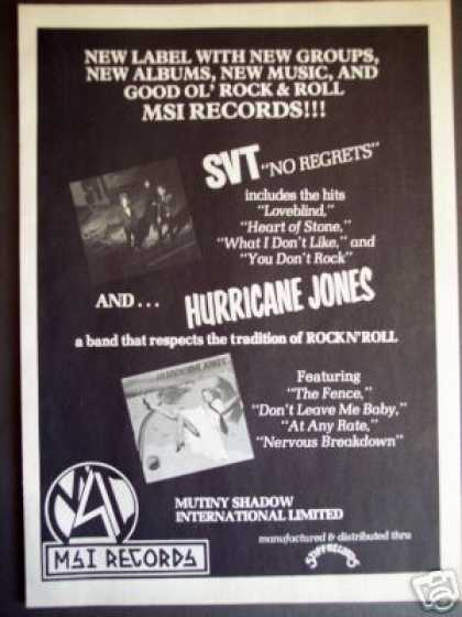 Hurricane Jones And.. Stv On Msi Records Promo (1982)