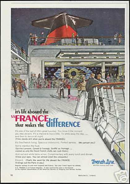 French Line France Cruise Ship Art (1966)