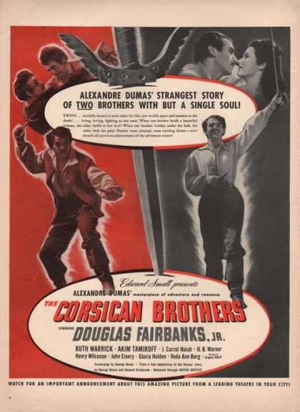Corsican Brothers Movie Douglas Fairbanks (1941)