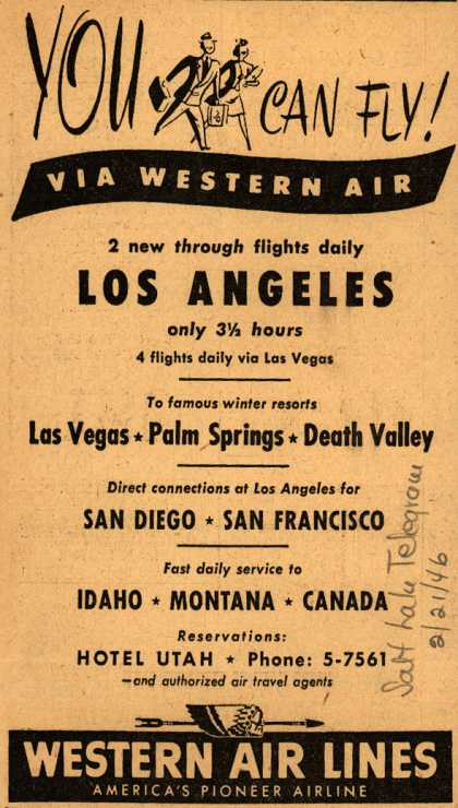 Western Air Line's various destinations – You Two Can Fly! Via Western Air (1946)
