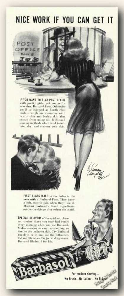 Barbasol Shaving Cream Ad With Period Art (1941)
