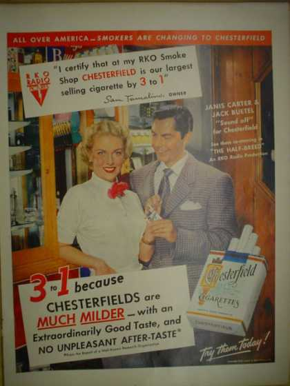 Chesterfield Cigarettes Janice Carter and Jack Buetel The Half Breed Movie. RKO pictures smoke shop (1952)