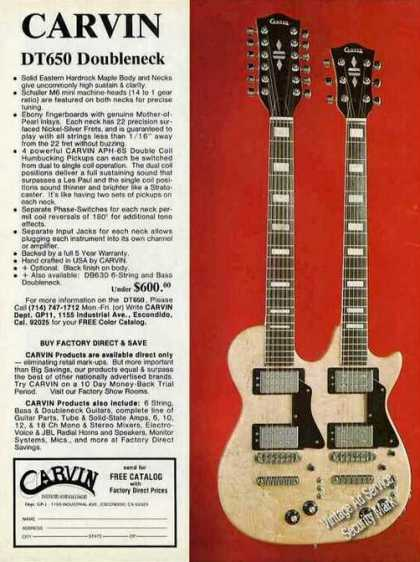 Carvin Dt650 Doubleneck Guitar Photo (1978)