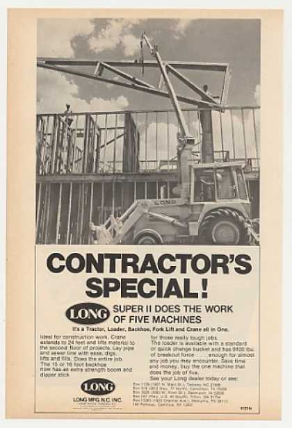 Long Super II Tractor Loader Backhoe Lift Crane (1978)