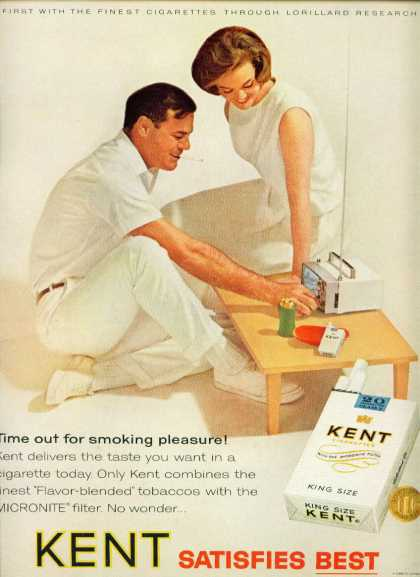 Kent Cigarettes Couple Smoking Watching Tiny Tv (1965)