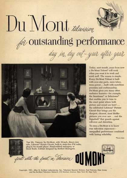 Allen B. DuMont Laboratorie's DuMont Teleset – DuMont television for outstanding performance day in, day out – year after year (1951)