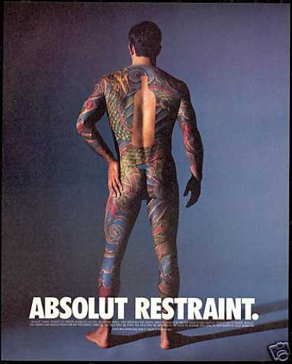 Absolut Restraint Vodka Naked Man Tattoo Photo (1997)