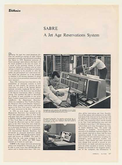 American Airlines IBM 7090 SABRE Computer Article (1960)