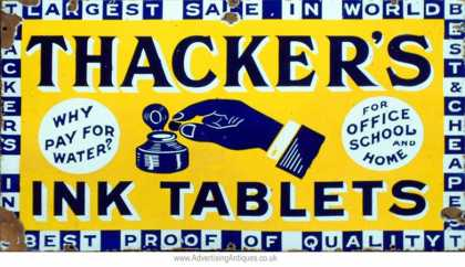 Thacker's Ink Tablets Enamel Sign