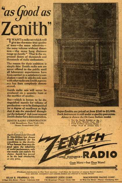 "Zenith Radio's Radio – ""as Good as Zenith"" (1925)"