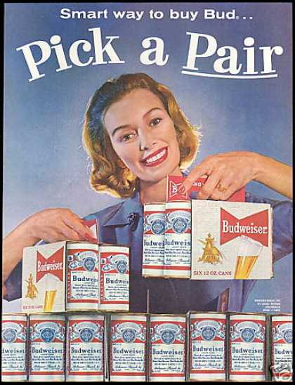 Budweiser Beer Cans Six Pack Pick a Pair (1960)