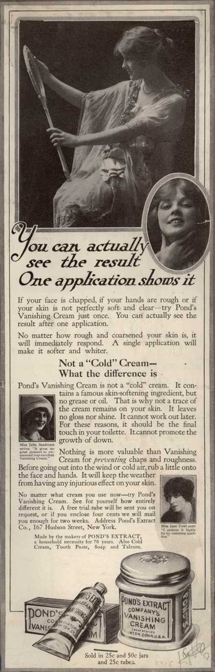 Pond's Extract Co.'s Pond's Vanishing Cream – You can actually see the result. One application shows it. (1915)