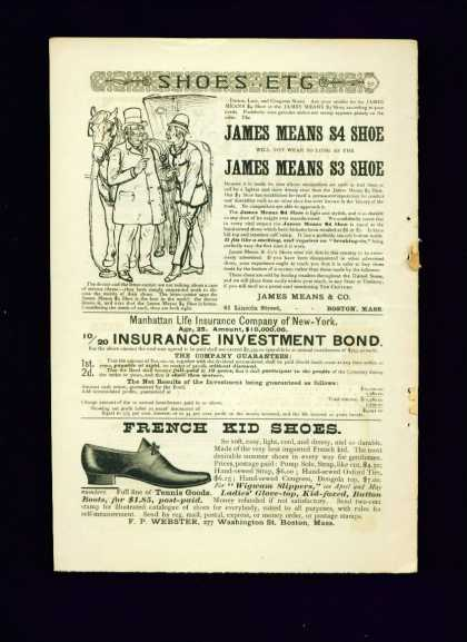 James Means $4 Shoe 1/2 Pg Ad French Kid Shoes (1887)
