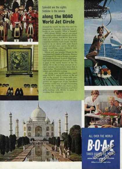Boac World Jet Circle Taj Mahal (1963)