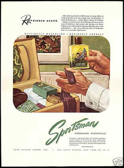 Sportsman Talc Cologne Lotions Vintage Art (1946)