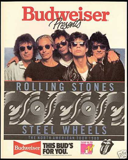 Budweiser Beer Rolling Stones Steel Wheels Tour (1989)