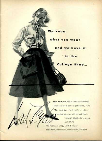 Lord & Taylor Fashion College Shirt Skirt (1951)
