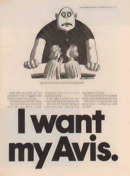 Avis Car Rental – I Want My Avis Comic (1975)