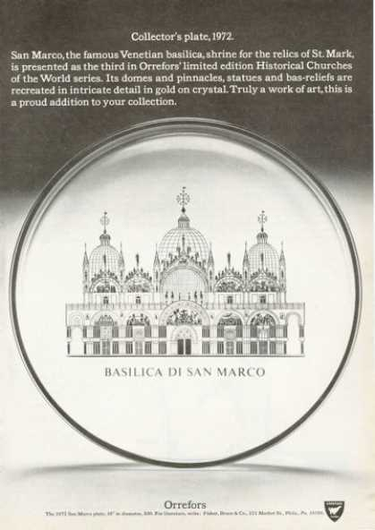 Orrefors Historical Church Plate Basilica Marco (1972)