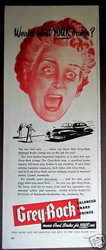Screaming Woman Art Grey-rock Car Brakes Lining (1947)