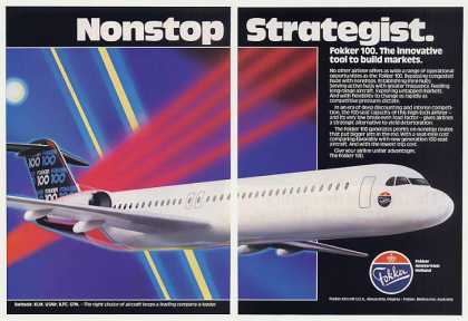 Fokker 100 Airliner Aircraft Photo 2-Page (1987)