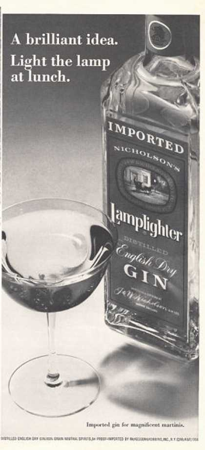 Lamplighter English Gin Bottle (1966)