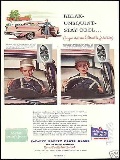Pink Oldsmobile 2 Dr Car LOF Windshield Glass (1957)