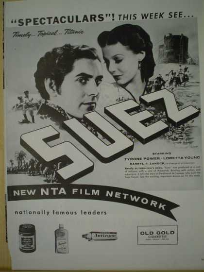 Movie Suez. NTA film network. Tyrone Power, Loretta Young (1957)