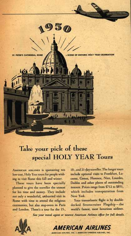 American Airline's Holy Year tours – Take your pick of these special Holy Year Tours (1949)