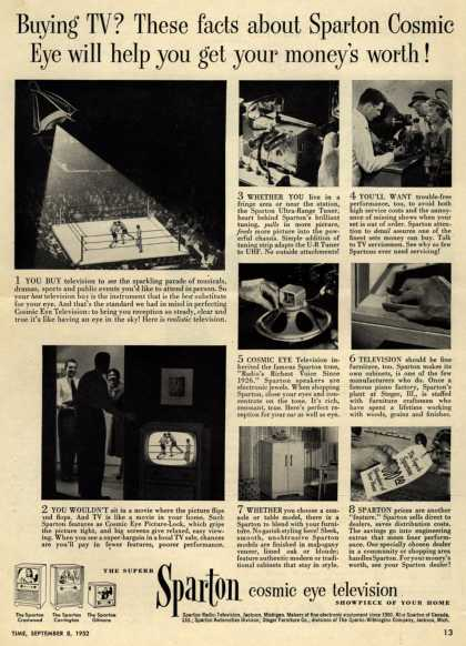 Sparton Radio-Television's Cosmic Eye Television – Buying TV? These facts about Sparton Cosmic Eye will help you get your money's worth (1952)