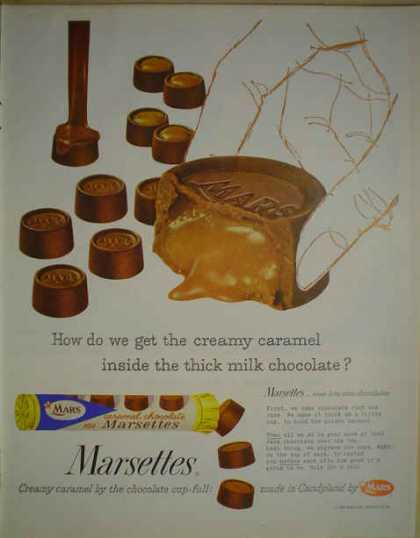 Marsettes caramel chocolate by Mars made in candyland (1958)