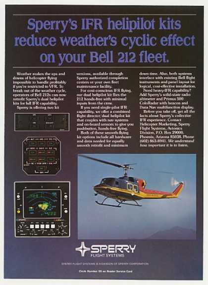 Bell 212 Helicopter Sperry IFR Helipilot Radar (1982)