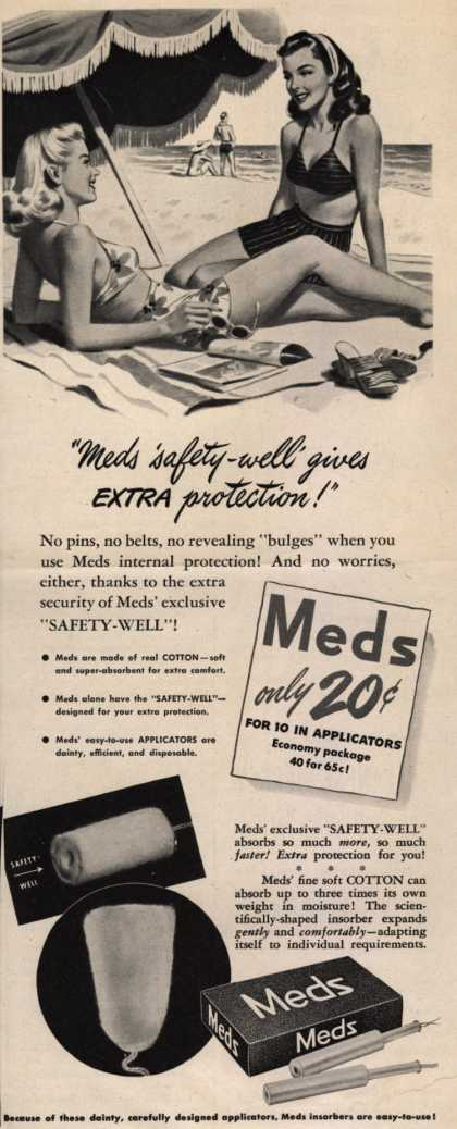 "Personal Products Corporation's Meds Tampons – ""Meds 'safety well' gives extra protection!"" (1945)"
