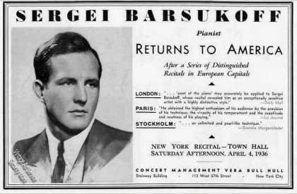 Sergei Barsukoff Photo Pianist Booking (1936)