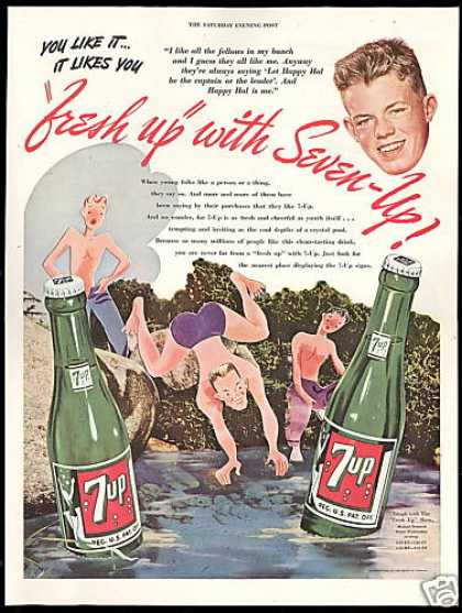 Seven up Happy Hal Swimming Hole 7-up 7up (1946)