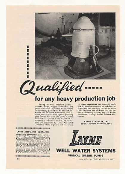 Layne Well Water System Vertical Turbine Pump (1950)