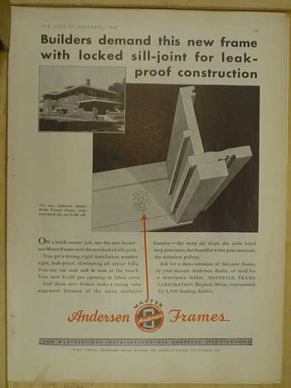 Andersen Frames. Locked sill joint for leak proof construction (1930)