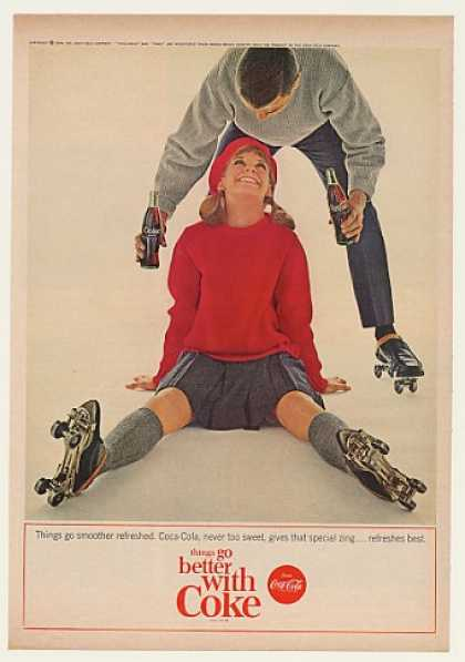 Coke Coca-Cola Couple Roller Skates Skating (1964)