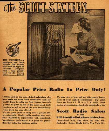E.H. Scott Radio Laboratorie's Wilshire – The Scott Sixteen: A Popular Radio in Price Only (1938)
