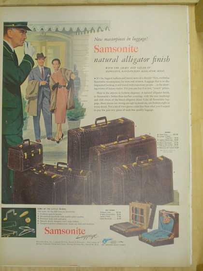 Samsonite luggage natural alligator finish (1953)
