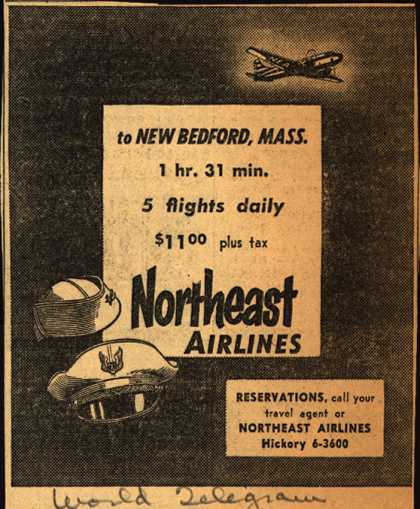 Northeast Airline's New Bedford, Mass. – to New Bedford, Mass. (1954)