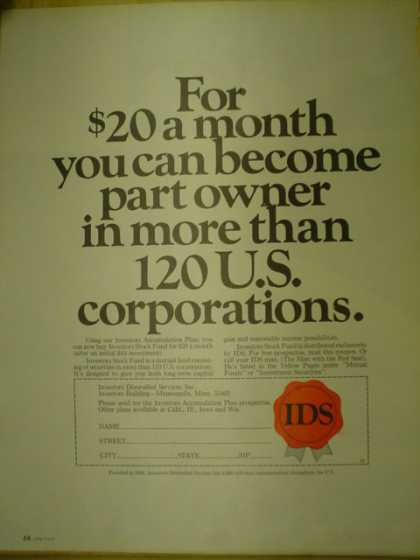 IDS investments For $20 you can become part owner of 120 US Corporations (1967)