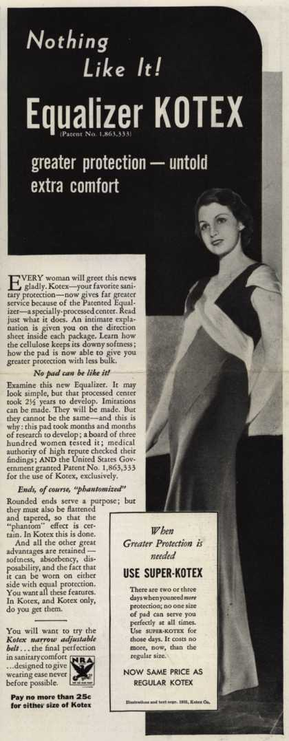 Kotex Company's Equalizer Kotex Sanitary Napkins – Nothing like it! Equalizer Kotex (1933)