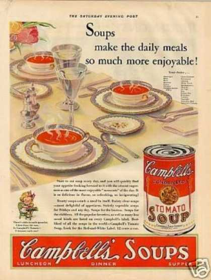 "Campbell's Tomato Soup Ad ""Soups Make the Daily... (1930)"