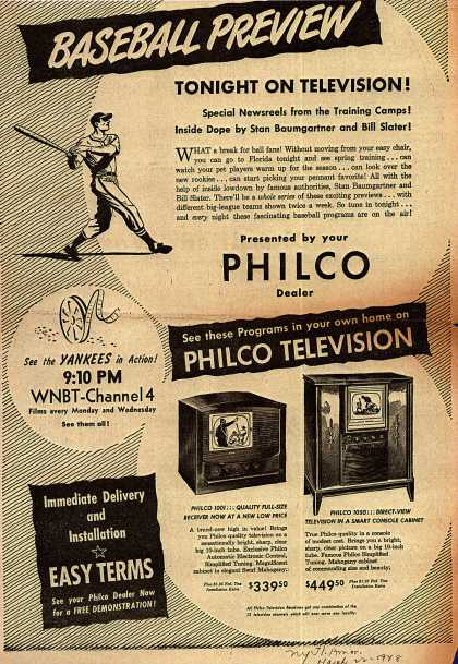 Philco's Television – Baseball Preview Tonight On Television (1948)