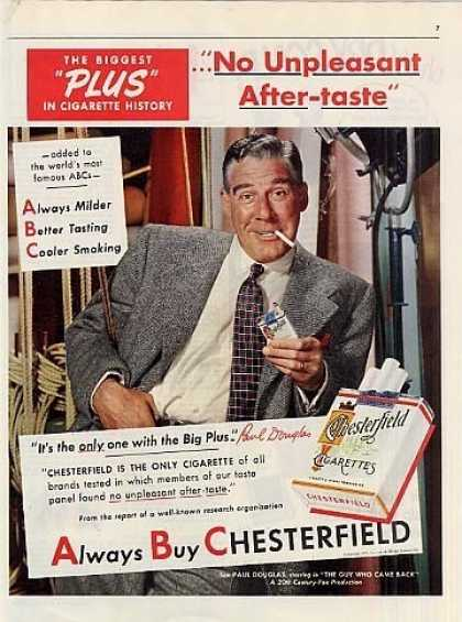 Chesterfield Cigarettes Ad Paul Douglas (1951)