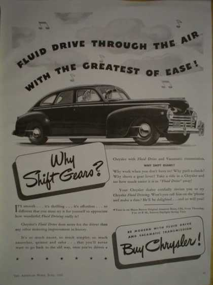 Chrysler Autos Fluid Drive Why shift gears (1941)