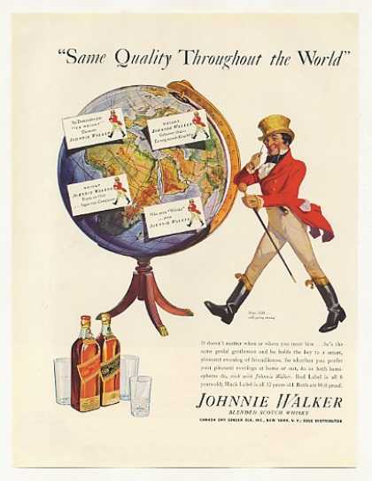 '37 Johnnie Walker Scotch Whisky Quality World Globe (1937)